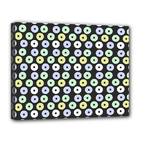 Eye Dots Grey Pastel Canvas 14  X 11