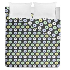 Eye Dots Grey Pastel Duvet Cover Double Side (queen Size)