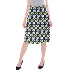 Eye Dots Grey Pastel Midi Beach Skirt