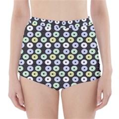Eye Dots Grey Pastel High Waisted Bikini Bottoms