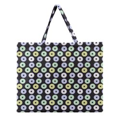 Eye Dots Grey Pastel Zipper Large Tote Bag