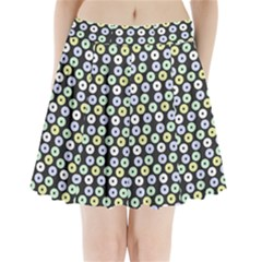 Eye Dots Grey Pastel Pleated Mini Skirt
