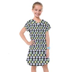 Eye Dots Grey Pastel Kids  Drop Waist Dress