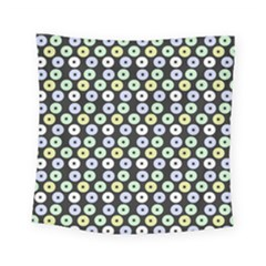 Eye Dots Grey Pastel Square Tapestry (small)