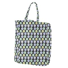 Eye Dots Grey Pastel Giant Grocery Zipper Tote