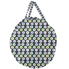 Eye Dots Grey Pastel Giant Round Zipper Tote