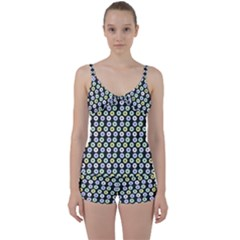 Eye Dots Grey Pastel Tie Front Two Piece Tankini