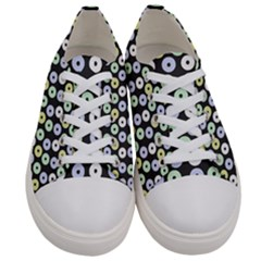 Eye Dots Grey Pastel Women s Low Top Canvas Sneakers