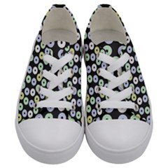 Eye Dots Grey Pastel Kids  Low Top Canvas Sneakers