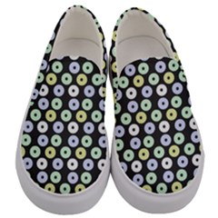 Eye Dots Grey Pastel Men s Canvas Slip Ons