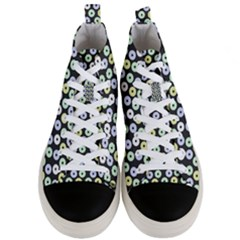 Eye Dots Grey Pastel Men s Mid Top Canvas Sneakers