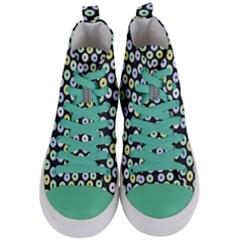Eye Dots Grey Pastel Women s Mid Top Canvas Sneakers