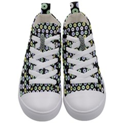 Eye Dots Grey Pastel Kid s Mid Top Canvas Sneakers