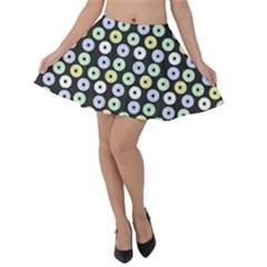 Eye Dots Grey Pastel Velvet Skater Skirt