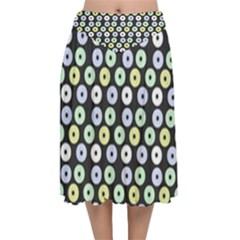 Eye Dots Grey Pastel Velvet Flared Midi Skirt