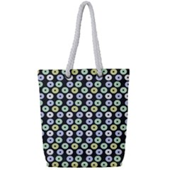 Eye Dots Grey Pastel Full Print Rope Handle Tote (small)