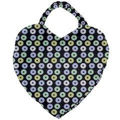 Eye Dots Grey Pastel Giant Heart Shaped Tote