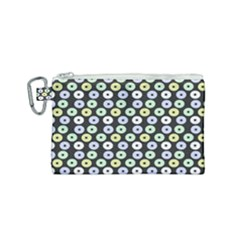 Eye Dots Grey Pastel Canvas Cosmetic Bag (small)
