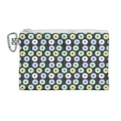 Eye Dots Grey Pastel Canvas Cosmetic Bag (large)