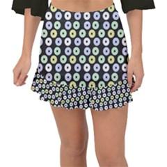 Eye Dots Grey Pastel Fishtail Mini Chiffon Skirt