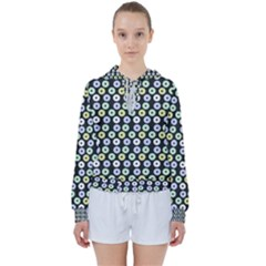 Eye Dots Grey Pastel Women s Tie Up Sweat