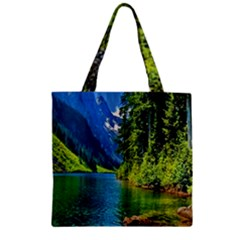 Beautiful Nature Lake Zipper Grocery Tote Bag by Modern2018