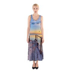 Sunset Lake Beautiful Nature Sleeveless Maxi Dress