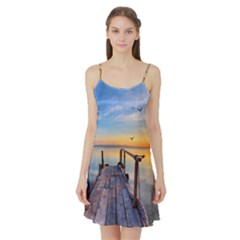 Sunset Lake Beautiful Nature Satin Night Slip