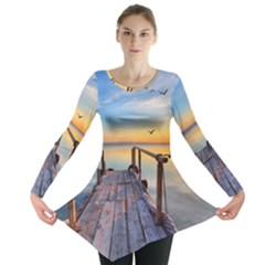Sunset Lake Beautiful Nature Long Sleeve Tunic