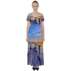 Sunset Lake Beautiful Nature High Waist Short Sleeve Maxi Dress
