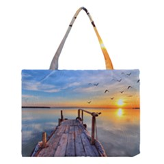 Sunset Lake Beautiful Nature Medium Tote Bag