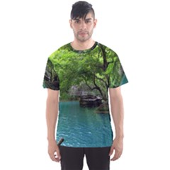 Backgrounds List Of Lake Background Beautiful Waterfalls Nature Men s Sports Mesh Tee