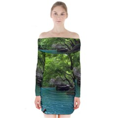 Backgrounds List Of Lake Background Beautiful Waterfalls Nature Long Sleeve Off Shoulder Dress