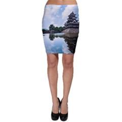 Beautiful Pagoda On Lake Nature Wallpaper Bodycon Skirt