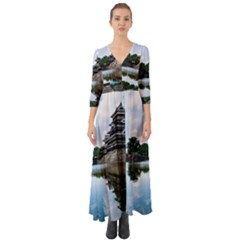 Beautiful Pagoda On Lake Nature Wallpaper Button Up Boho Maxi Dress