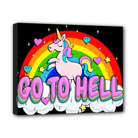 Go To Hell   Unicorn Canvas 10  X 8
