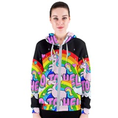 Go To Hell   Unicorn Women s Zipper Hoodie by Valentinaart