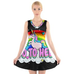 Go To Hell   Unicorn V Neck Sleeveless Dress