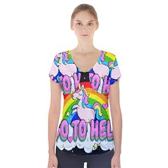 Go To Hell   Unicorn Short Sleeve Front Detail Top