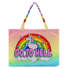 Go To Hell   Unicorn Zipper Medium Tote Bag