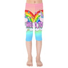 Go To Hell   Unicorn Kids  Capri Leggings