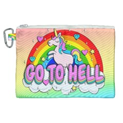 Go To Hell   Unicorn Canvas Cosmetic Bag (xl) by Valentinaart