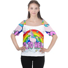 Go To Hell   Unicorn Cutout Shoulder Tee