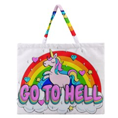Go To Hell   Unicorn Zipper Large Tote Bag