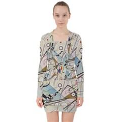 Composition 8   Vasily Kandinsky V Neck Bodycon Long Sleeve Dress