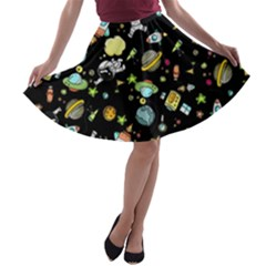Space Pattern A Line Skater Skirt
