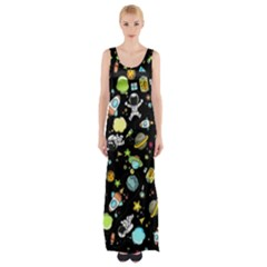 Space Pattern Maxi Thigh Split Dress