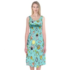 Space Pattern Midi Sleeveless Dress