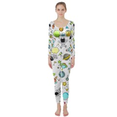 Space Pattern Long Sleeve Catsuit