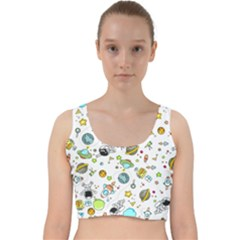 Space Pattern Velvet Racer Back Crop Top